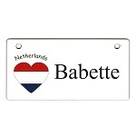 Netherlands Heart Flag Crate Tag Personalized With Your Dog's Name